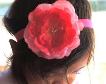 Hot Pink And Light Pink Easter Color Silk Flower Headband Or Hair Clip., Baby Girl Headband, Newborn Headband, Girls Headband/Hair Clip
