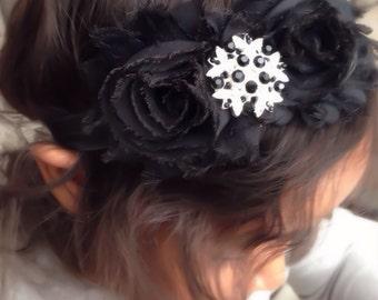 Black Shabby Chiffon Fabric Flower Headband, Girl Headband, Baby Girl Headband, Infant Girl Headband, Newborn Girl Headband