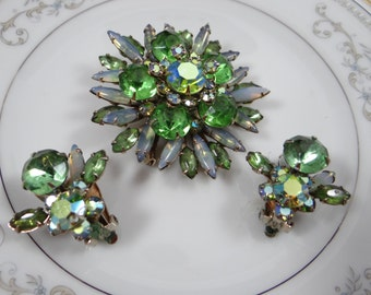 Vintage Glamorous Green and Moonstone Demi-Parure Brooch and Earring Set