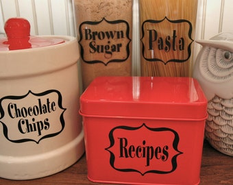 8 Home Organization Vinyl Tags, Labels for Kitchen, Plastic Bins, Jars, Canisters, Folders