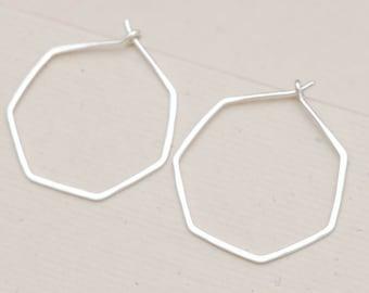 Heptagon silver hoop earrings