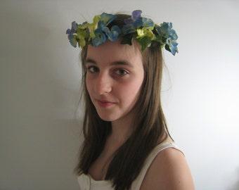 Flower Headdress, Blue Hydrangeas on Felted headband.