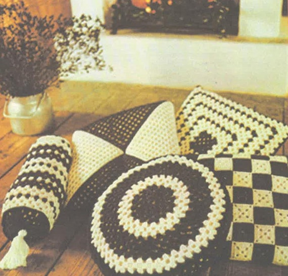 Items similar to Crochet Pattern Cushions, Floor Cushions, Round Cushion , Square Cushion DK ...
