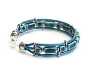 Teal Blue Multi-Strand Leather Bracelet with Handmade Ceramic Beads and Magnet Clasp - Handmade Jewelry