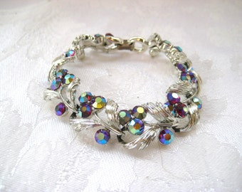 Lisner Signed Aurora Borealis and Silver Bracelet, High Fashion Chunky Linked Vintage Womens Bracelets