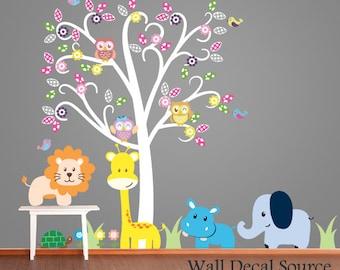 Nursery Wall Decal - Animal Wall Decal - Vinyl Wall Tree