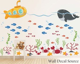 Under The Sea   Submarine Wall Decal   Ocean Decals   Whale Decals    Submarine Decals Part 70