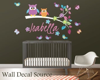 Branch Wall Decal - Nursery Branch Decal - Owls on Branch Decal