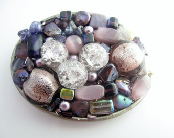 Purple Beadded belt buckle made of Swarovski crystals, pearls & glass beads, beadded belt buckle, Oval belt buckle, Bejeweled buckle