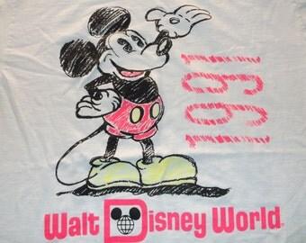 VINTAGE Walt Disney Mickey Mouse Florida 1991 LARGE White Neon Pink T Shirt