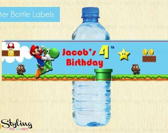 Super Mario Bros Water Bottle Lables