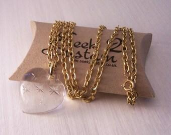 Vintage Glass Heart Pendant, Movitex Pendant, Heart Pendant