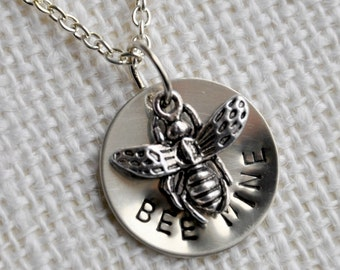 Bee Mine Charm Necklace - Hand Stamped - Valentines Day - Nickel Silver