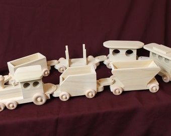 Wooden train, about 5 feet long, handcrafted from poplar