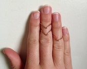 3 Stackable Chevron Mid Finger Rings in Rose Gold Rings: adjustable