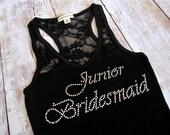 Junior Bridesmaid Tank Top Shirt. Half Lace. Bride, Matron of Honor, Maid of Honor Gift. Bridal Party Rhinestone Shirts