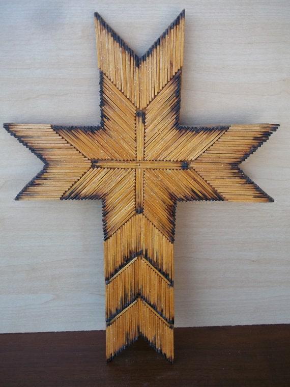 Vintage Matchstick Cross Tramp Art