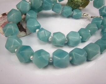 aqua blue amazonite gemstone facted nugget necklace
