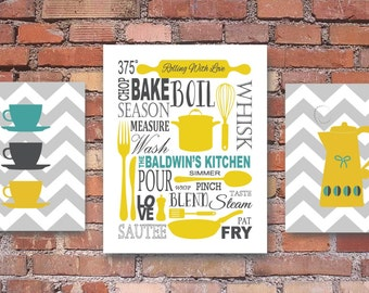 "Kitchen Art Personalized Prints - Utensils, Cups, Coffee Pot - Chevrons Mustard, Grey, Teal Set of 3- 8"" x 10""'s and 11"" x 14"" -Unframed"