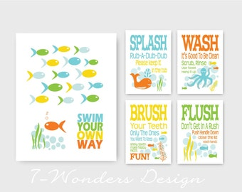 Kids Bathroom Art Prints - Swim Your Own Way, Splash, Wash, Brush, Flush Set of (5) - 11 x 14 and 5 x 7's // Childrens Kids Bathroom