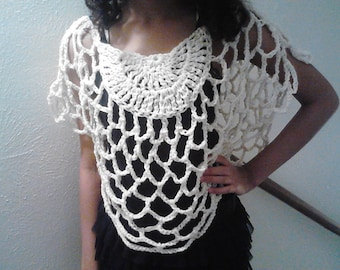 Beautiful Crochet Butterfly Mesh Top One Size Fits Most