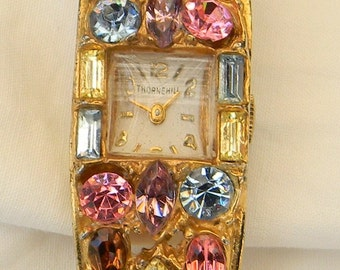 Vintage 1950s Rhinestone Hinged Bangle Watch Bracelet Thornehill Swiss Made Alanjack Inc. 7 Seven Jewels Watch
