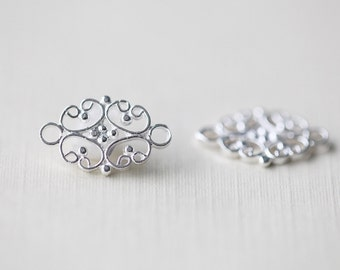 2PCS Sterling Silver Flower Spacer, Connector and Link, Chandelier Earrings Parts and Components