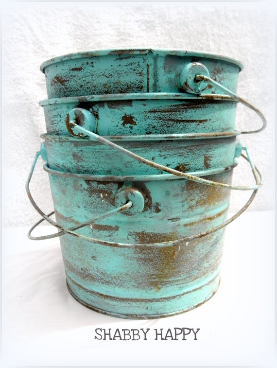 Items similar to seaside shabby rustic rusted metal for Rustic galvanized buckets
