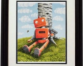 """Recharge yourself. Art print of my original Clockwork robot painting (painting exposed to Museum Of Contemporary art on Rome), 8""""x11"""""""