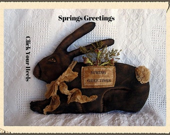 E Pattern    Primitive Spring Greetings Rabbit Pattern Click Your Heels