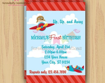 DIY Up Up and Away Aviator Invitation -Personalized Invitation by Serendipity Party Shop