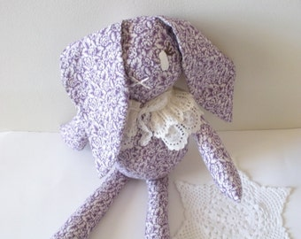 Bunny Doll - Purple and White Floral Print - Cotton Doll - Girl Doll