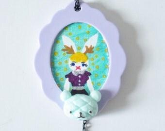 Gothic Lolita Necklace- Bunny Cameo- Original Art Pendant Necklace