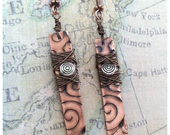 Salvaged  copper Embossed and wire wrapped earrings