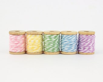 The Twinery pastel coloured baker's twine on wooden spools - set of 5