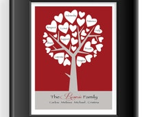 FAMILY TREE gift - Tree with messages on leaves - Housewarming Gift - Anniversary Gift - Mother's Day Gift - Other colors