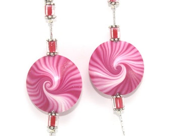 Polymer clay earrings, elegant earrings, Swirl stripes Lentil earrings, pink and white round earrings.