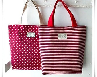 Small mini tote in red polkadots and red stripes