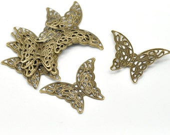 10 - Antique Bronze Filigree Butterfly Pendant Charm Connector Wrap Embelishment 4.1x2.9cm - Pack of 10