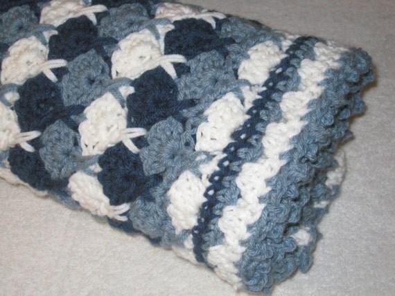 Hugs And Kisses Crochet Baby Blanket Pattern : Baby blanket Afghan Dark Blue Light Blue White colors by ...