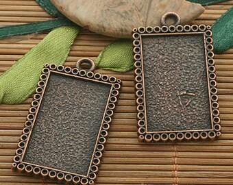 5pcs copper tone picture frame charm h3548