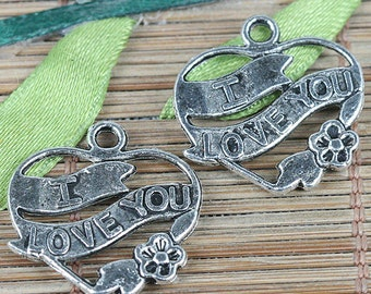 18pcs Tibetan Silver color Love heart shaped charms EF0280
