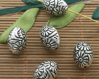 7pcs dark silver tone Oval flower spacer beads h3637