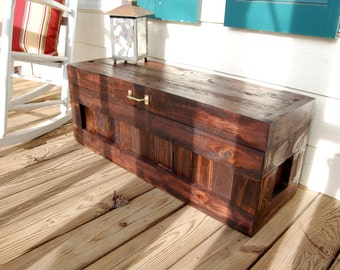 Red Mahogany Hope Chest / Toy Box/Blanket Storage from Reclaimed Pallet
