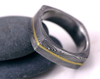 square wedding ring mens ring womens ring hand forged stainless damascus steel wedding - Damascus Wedding Ring