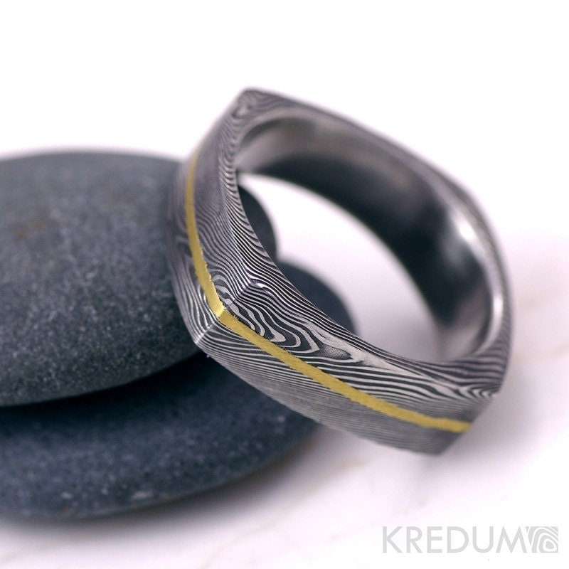 square wedding ring mens ring womens ring hand forged