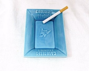 Vintage French Mid Century Blue Ceramic Bistro Publicity Gauloise Longue Ashtray, French Cafe Decor, French Design, Collectable Tobacciana