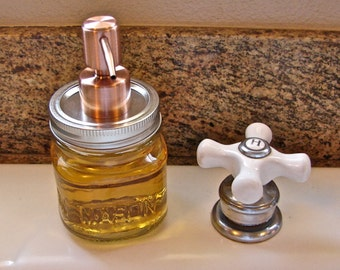 8 Ounce Square Mason Jar With Hand Made Brushed Copper  Two Tone Pump  LId For Soap or Lotion