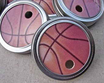 Basketballs - Party Mason Jar Lids - 6 Lids Only