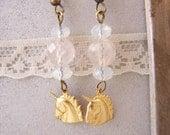 Brass unicorn earrings, gold Unicorn earrings opalites amethyst, Dainty jewelry Unicorn jewelry Brass jewelry